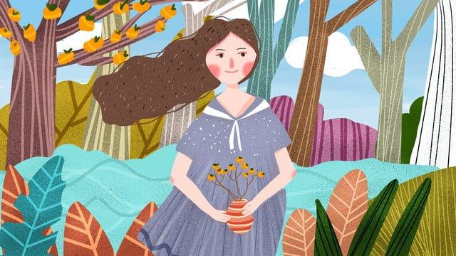 Good night beautiful fresh cute cartoon little girl picking persimmons, Good Night, Hello, Hello There illustration image
