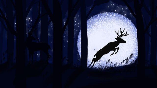 Good night hello moonlight jumping deer cure illustration poster with map, Good Night, Hello, Moonlight illustration image