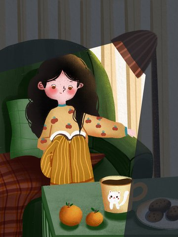 Good night hello girl sitting on the couch reading a book warm minimalist illustration, Good Night, Hello, Night illustration image