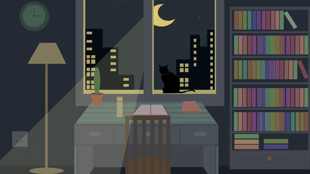 Good night hello original illustration, Good Night, Hello There, Flat illustration image