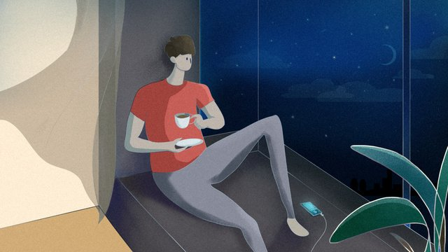 Good night hello in the middle of sit front window and drink coffee to enjoy view city llustration image