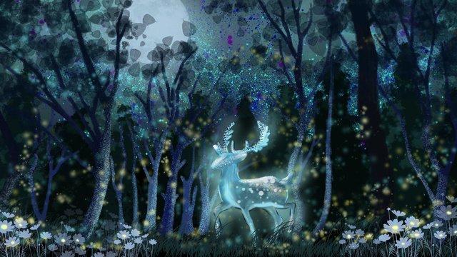 good night hello walk through the deer forest under moonlight llustration image