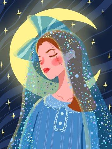 Good night hello moonlight girl in pajamas tulle illustration illustration image