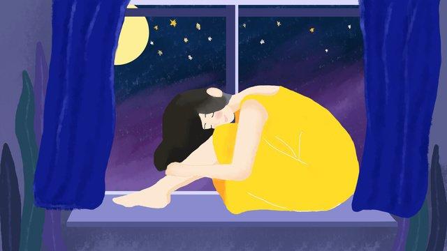 좋은 밤 소녀 달빛 안녕하세요 삽화 소재 삽화 이미지