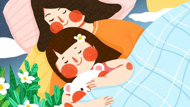 おやすみ、こんにちは、暖かい母と娘、かわいい、シンプル、フラット、オリジナルイラスト イラスト素材