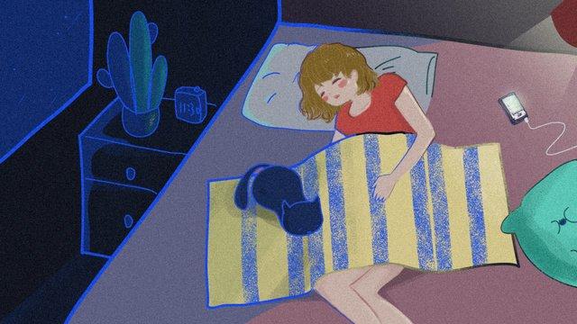 おやすみ、おやすみ少女と猫、静かな眠り、美しい手描き イラスト素材
