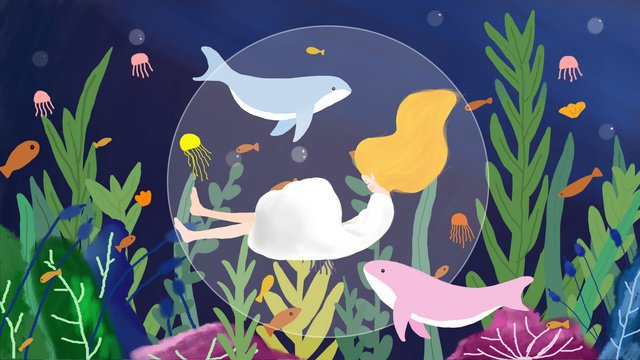 Good night dreams deep sea beautiful healing, Good Night, Hello There, Ocean illustration image