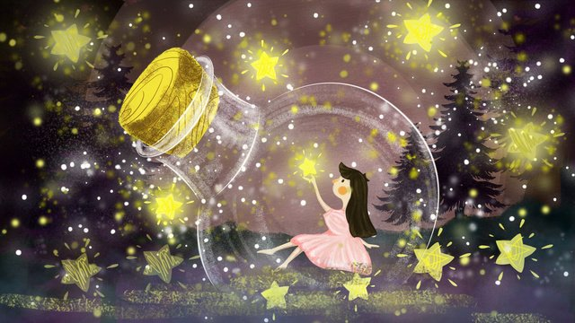 good night hello dreamland cure drift bottle girls stars llustration image