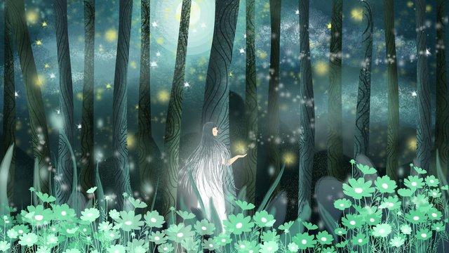 Good night hello dreamland cure forest girl dream, Good Night, Hello There, Sleepwalking Wonderland illustration image