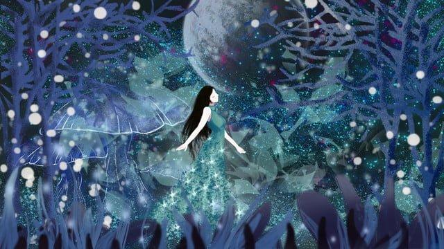 おやすみなさい、こんにちは夢、ワンダーランドは月明かりの下で少女を治す イラストレーション画像