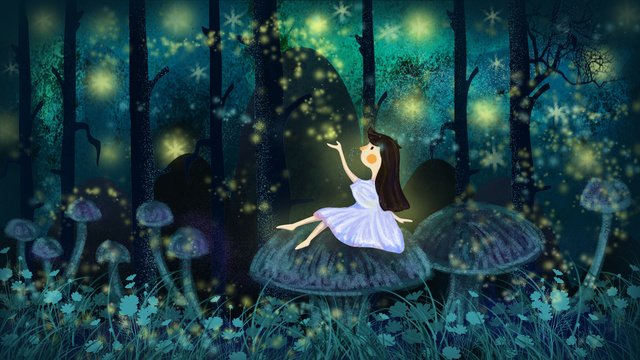 Good night hello dreaming wonderland girl in the forest, Good Night, Hello There, Sleepwalking Wonderland illustration image