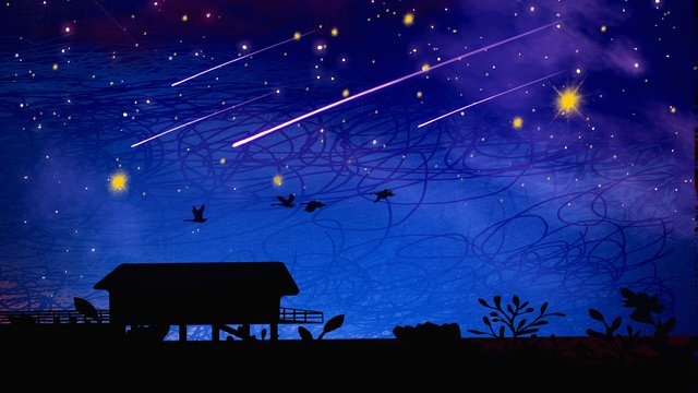 Good night hello starry sky dreamy, Good Night, Hello There, Starry Sky illustration image