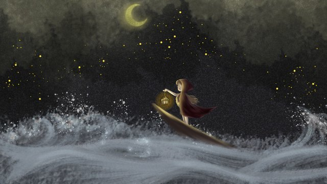 Good night starry girl under the stars, Good Night, Hello There, Starry Sky illustration image