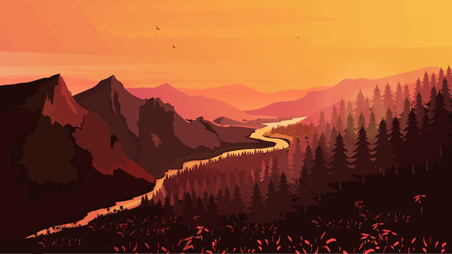 Good night the sunset mountains and rivers llustration image