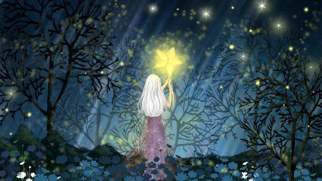 शुभ रात्रि नमस्ते हाथ परी लड़की जंगल पेड़ फूल चित्रण छवि