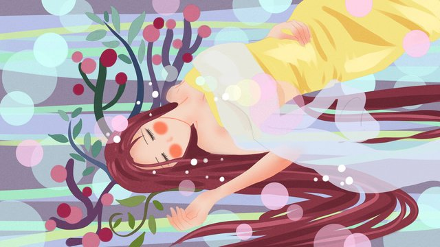 Good-haired girl sleeping in the night water, Good Night, In The Water, Go To Bed illustration image