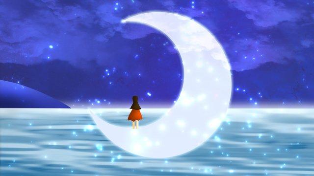 Good night world, Good Night, Moon, Little Girl illustration image