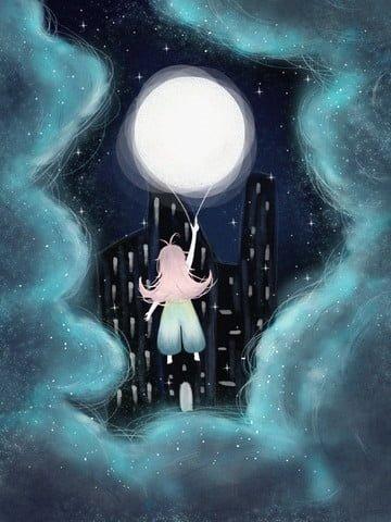 Good night girl holding the moon ball, Good Night, Moon, Star illustration image