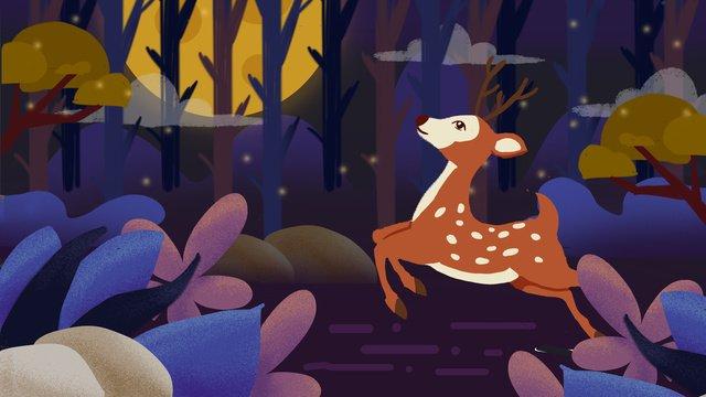 good night world forest illustration llustration image