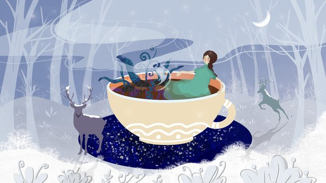 good night hello winter snow forest and girl llustration image illustration image