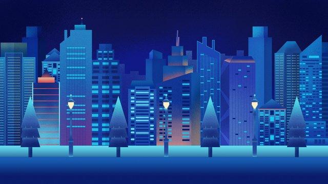 original hand drawn illustration night city high rise building street llustration image