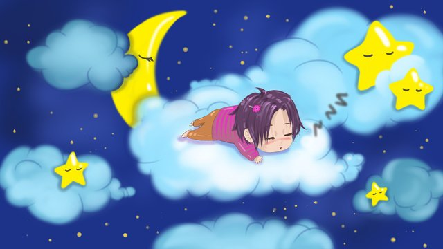 Good night illustration of a child sleeping on the clouds in, Good Night, Night Sky, Moon illustration image