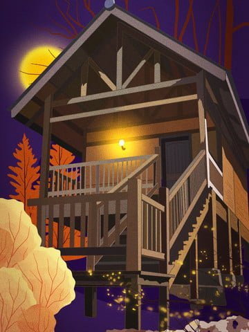 good night hello november forest house european architecture beautiful view llustration image