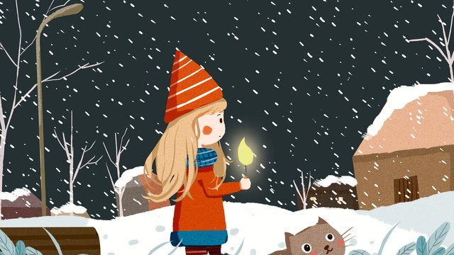 good night hello winter and little girl cat cure system illustration llustration image