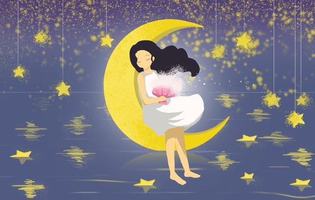 こんにちはこんにちは世界静かな夜の星の少女夢見る月夜の空 イラスト素材