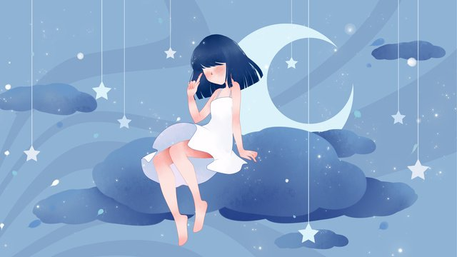 Good night world girl sitting on the cloud llustration image