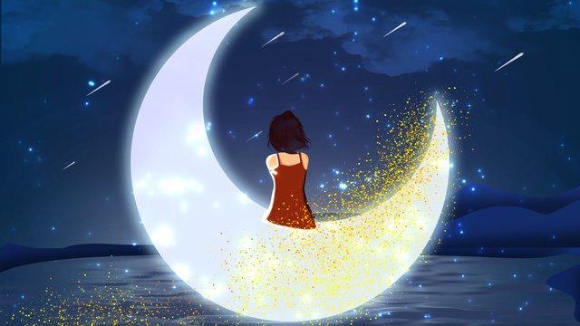 The end of good night world dream, Good Night World, Girl On The Moon, Meteor Shower illustration image