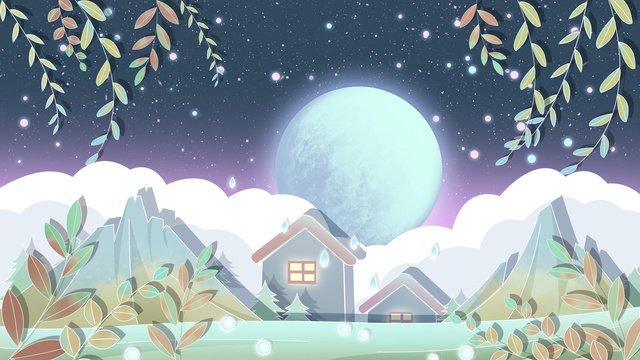 Good night world illustration autumn, Good Night World, Good Night, Fall illustration image