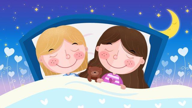 Cartoon wind cute good night world little girl sleeping illustration llustration image