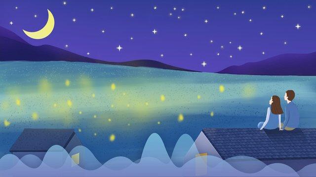 おやすみ世界カップル星空治療手描きイラスト イラスト素材 イラスト画像