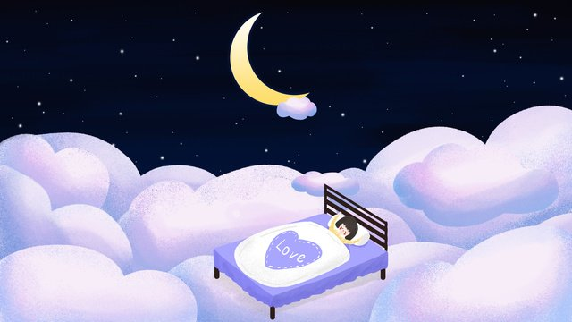 Original good night world girl sleeping in the clouds hand-painted dreams, Good Night, World, Good Night World illustration image