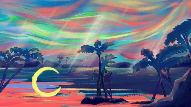 Good night world doodle illustration, Good Night World, Graffiti Style, Oil Painting Style illustration image