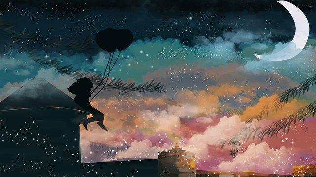 晚安世界仰望星空 插畫素材