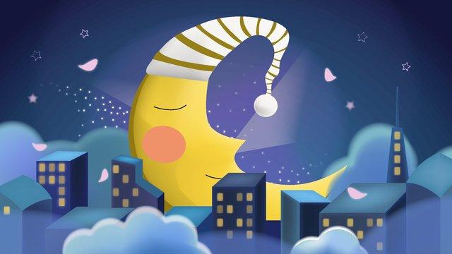 Good night world moon, Good Night, World, Moon illustration image