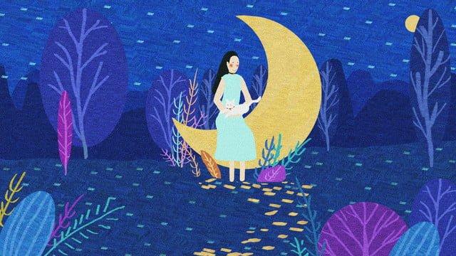 Good night world original illustration, Good Night, World, Night illustration image
