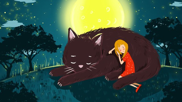 good night world night night view moon, Go To Bed, Girl, Cure illustration image