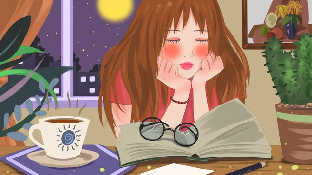 Good night world looking at the book sleeping girl fresh illustration, Good Night, World, Reading illustration image