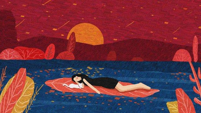 Good night world original illustration, Good Night, World, Red illustration image