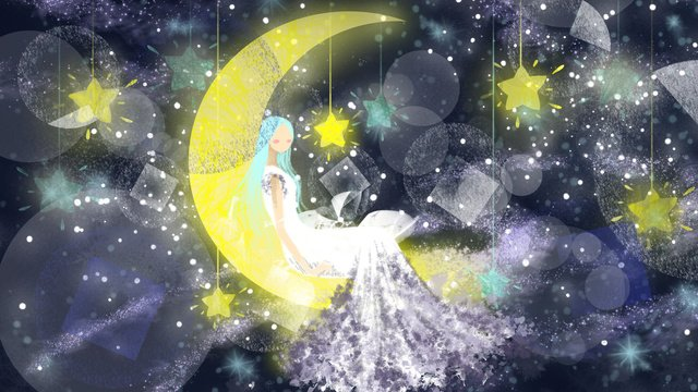 굿 나잇 월드 sleepwalking wonderland 치유 소녀 달에 앉아 그림 이미지 일러스트레이션 이미지