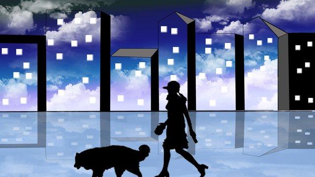 Good night world sky, Good Night World, The Realm Of The Sky, Walking The Dog illustration image