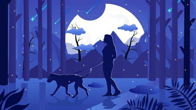 Good night world illustration, Good Night, World, Walking The Dog illustration image