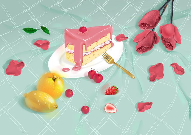 Delicate and realistic food flower, Gourmet Battle, Cake, Fruit illustration image
