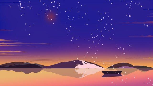 グラデーションambilightスタイルの夜景手描きイラスト イラストレーション画像