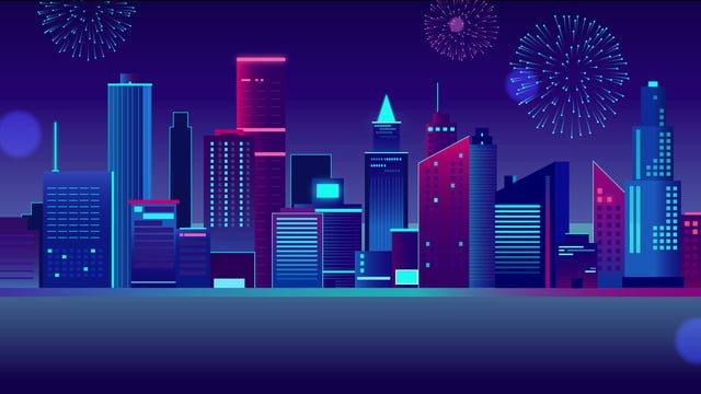 स्नातक नीयन क्षितिज शहरी उच्च वृद्धि इमारत आतिशबाजी रात दृश्य आधुनिक चित्रण छवि