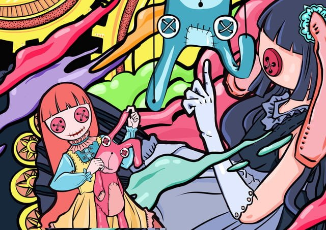 original graffiti cute and rabbit girl llustration image