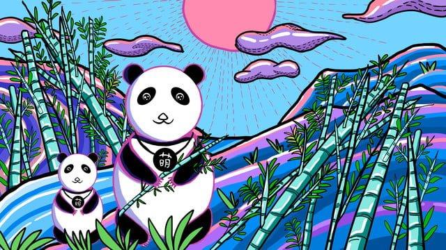塗鴉modern熊貓與竹子 插畫素材